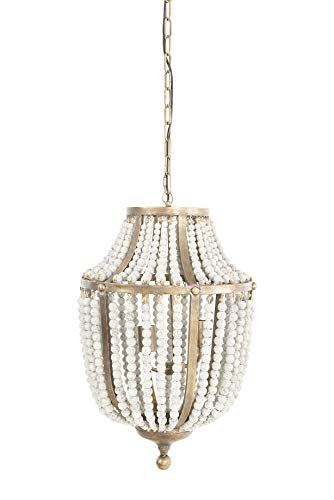 Creative Co Op EC0269 Creative Co Op Metal Chandelier With Wood Beads Ceiling Lights Antique Brass And Distressed Grey 0