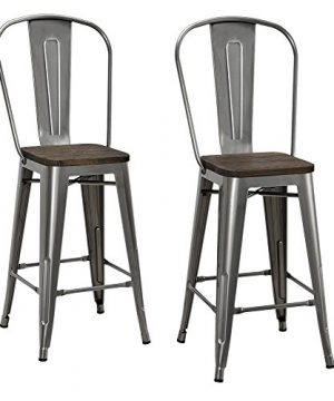 DHP Luxor Counter Stool With Wood Seat And Backrest 24 Antique Gun Metal 0 300x360