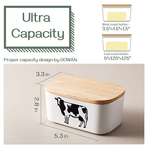 DOWAN Butter Dish With Lid Cow Butter Dish Butter Dishes With Covers Butter Container For Refrigerator Farmhouse Style Covered Butter Dish For Countertop Large Butter Keeper White 0 1