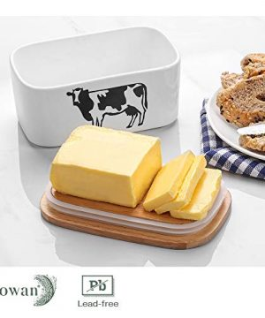 DOWAN Butter Dish With Lid Cow Butter Dish Butter Dishes With Covers Butter Container For Refrigerator Farmhouse Style Covered Butter Dish For Countertop Large Butter Keeper White 0 2 300x360