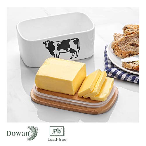 DOWAN Butter Dish With Lid Cow Butter Dish Butter Dishes With Covers Butter Container For Refrigerator Farmhouse Style Covered Butter Dish For Countertop Large Butter Keeper White 0 2