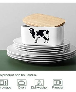 DOWAN Butter Dish With Lid Cow Butter Dish Butter Dishes With Covers Butter Container For Refrigerator Farmhouse Style Covered Butter Dish For Countertop Large Butter Keeper White 0 3 300x360