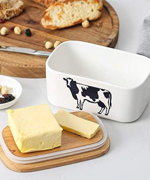 DOWAN Butter Dish With Lid Cow Butter Dish Butter Dishes With Covers Butter Container For Refrigerator Farmhouse Style Covered Butter Dish For Countertop Large Butter Keeper White 0 4 300x360