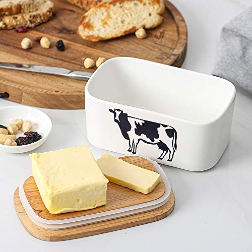 DOWAN Butter Dish With Lid Cow Butter Dish Butter Dishes With Covers Butter Container For Refrigerator Farmhouse Style Covered Butter Dish For Countertop Large Butter Keeper White 0 4