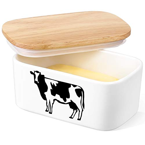 DOWAN Butter Dish With Lid Cow Butter Dish Butter Dishes With Covers Butter Container For Refrigerator Farmhouse Style Covered Butter Dish For Countertop Large Butter Keeper White 0