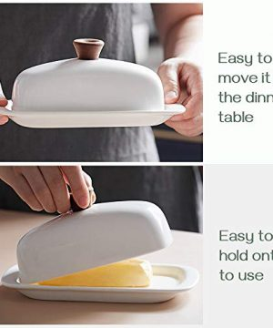 DOWAN Butter Dish With Lid Porcelain Butter Dish With Cover Perfect For East West Butter 0 0 300x360