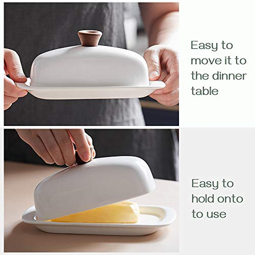 DOWAN Butter Dish With Lid Porcelain Butter Dish With Cover Perfect For East West Butter 0 0