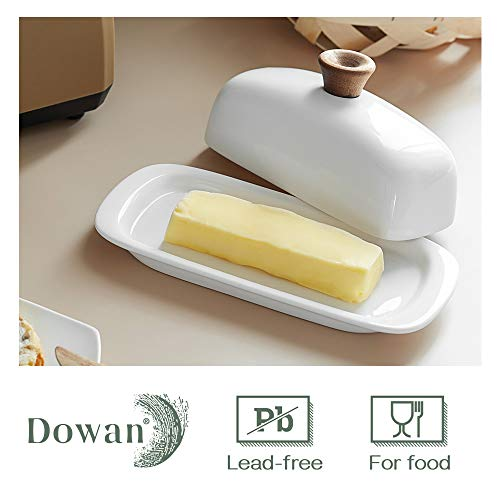 DOWAN Butter Dish With Lid Porcelain Butter Dish With Cover Perfect For East West Butter 0 2