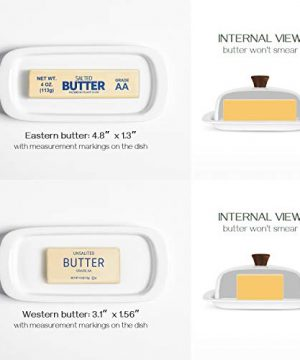 DOWAN Butter Dish With Lid Porcelain Butter Dish With Cover Perfect For East West Butter 0 4 300x360