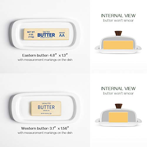 DOWAN Butter Dish With Lid Porcelain Butter Dish With Cover Perfect For East West Butter 0 4