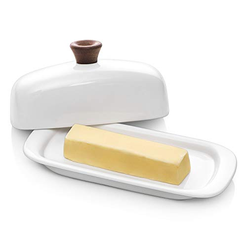 DOWAN Butter Dish With Lid Porcelain Butter Dish With Cover Perfect For East West Butter 0