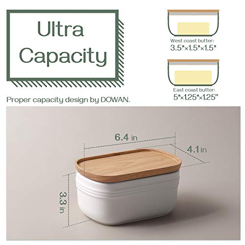 DOWAN Porcelain Butter Dish Extra Large Butter Dish With Cover Airtight Butter Dish With Wooden Lid Farmhouse Butter Container For East West Coast Butter Freezer Safe White 0 0