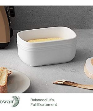 DOWAN Porcelain Butter Dish Extra Large Butter Dish With Cover Airtight Butter Dish With Wooden Lid Farmhouse Butter Container For East West Coast Butter Freezer Safe White 0 1 300x360
