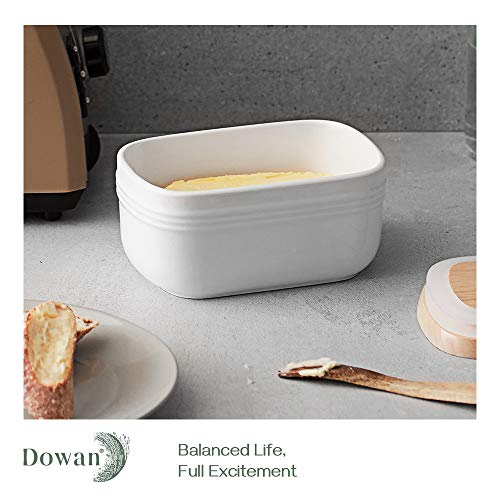 DOWAN Porcelain Butter Dish Extra Large Butter Dish With Cover Airtight Butter Dish With Wooden Lid Farmhouse Butter Container For East West Coast Butter Freezer Safe White 0 1