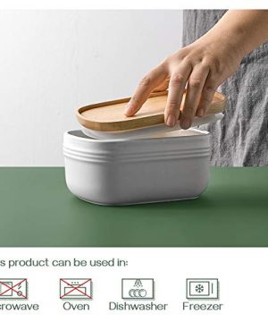 DOWAN Porcelain Butter Dish Extra Large Butter Dish With Cover Airtight Butter Dish With Wooden Lid Farmhouse Butter Container For East West Coast Butter Freezer Safe White 0 2 300x360