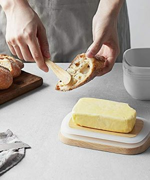 DOWAN Porcelain Butter Dish Extra Large Butter Dish With Cover Airtight Butter Dish With Wooden Lid Farmhouse Butter Container For East West Coast Butter Freezer Safe White 0 3 300x360