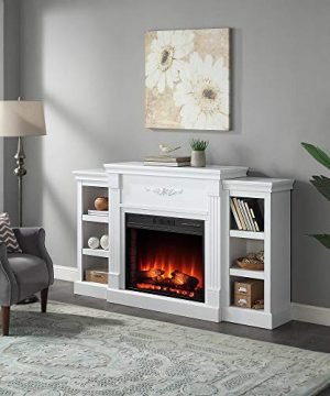 Della 70 In Electric Fireplace With Enhanced Log Display And White Mantel CSA Certification 0 300x360