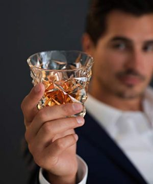 Diamond Cut Whiskey Glass Pair Dishwasher Safe Unique Gift Great For Scotch Or Whiskey 8oz Glass Liquor Or Bourbon Tumblers 2pk By Fine Occasion 0 5 300x360