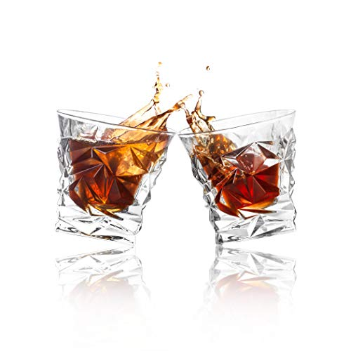 Diamond Cut Whiskey Glass Pair Dishwasher Safe Unique Gift Great For Scotch Or Whiskey 8oz Glass Liquor Or Bourbon Tumblers 2pk By Fine Occasion 0