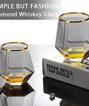 Diamond Whiskey Glasses 4 PCS Rocks Glasses Gold Banded Cocktail Drinkware For Rum Scotch Or Wine Glasses Tumblers Old Fashion Elegant Glass Unique Christmas Thanksgiving New Year Gifts Gray 0 4 300x360