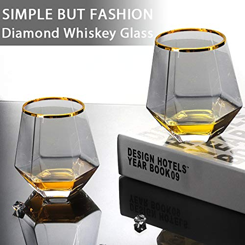 Diamond Whiskey Glasses 4 PCS Rocks Glasses Gold Banded Cocktail Drinkware For Rum Scotch Or Wine Glasses Tumblers Old Fashion Elegant Glass Unique Christmas Thanksgiving New Year Gifts Gray 0 4