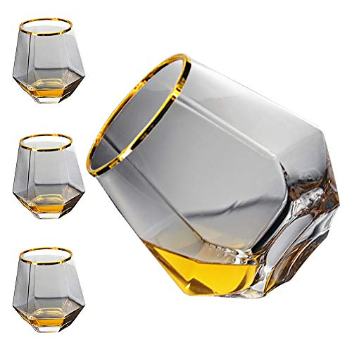 Diamond Whiskey Glasses 4 PCS Rocks Glasses Gold Banded Cocktail Drinkware For Rum Scotch Or Wine Glasses Tumblers Old Fashion Elegant Glass Unique Christmas Thanksgiving New Year Gifts Gray 0