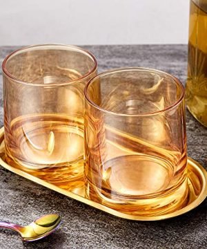 Diamond Whiskey Glasses Set Of 2 Rocks Rainbow Glasses Gold Amber Banded Cocktail Drinkware For Rum Scotch Bourbon Or Wine Tumblers Elegant Glass Unique Christmas Thanksgiving Gift 0 0 300x360