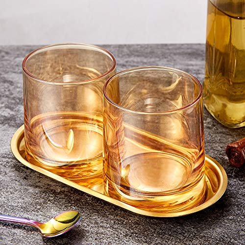 Diamond Whiskey Glasses Set Of 2 Rocks Rainbow Glasses Gold Amber Banded Cocktail Drinkware For Rum Scotch Bourbon Or Wine Tumblers Elegant Glass Unique Christmas Thanksgiving Gift 0 0
