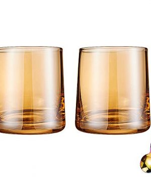Diamond Whiskey Glasses Set Of 2 Rocks Rainbow Glasses Gold Amber Banded Cocktail Drinkware For Rum Scotch Bourbon Or Wine Tumblers Elegant Glass Unique Christmas Thanksgiving Gift 0 4 300x360