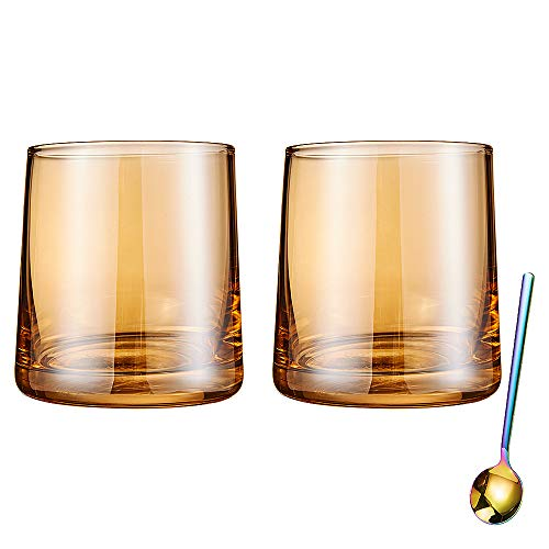 Diamond Whiskey Glasses Set Of 2 Rocks Rainbow Glasses Gold Amber Banded Cocktail Drinkware For Rum Scotch Bourbon Or Wine Tumblers Elegant Glass Unique Christmas Thanksgiving Gift 0 4
