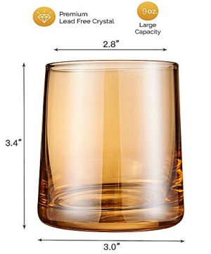 Diamond Whiskey Glasses Set Of 2 Rocks Rainbow Glasses Gold Amber Banded Cocktail Drinkware For Rum Scotch Bourbon Or Wine Tumblers Elegant Glass Unique Christmas Thanksgiving Gift 0 5 300x360