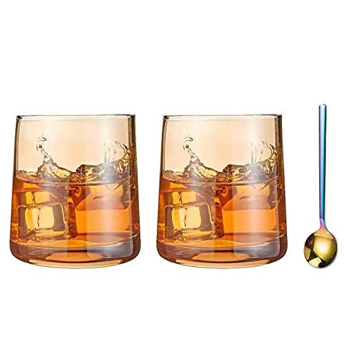 Diamond Whiskey Glasses Set Of 2 Rocks Rainbow Glasses Gold Amber Banded Cocktail Drinkware For Rum Scotch Bourbon Or Wine Tumblers Elegant Glass Unique Christmas Thanksgiving Gift 0