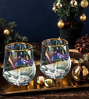 Diamond Whiskey Glasses Set Of 4 Rocks Rainbow Glasses Gold Banded Cocktail Drinkware For Rum Scotch Bourbon Or Wine Tumblers Elegant Glass Unique Christmas Valentines Gift For Women Men Family 0 1 300x333