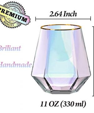 Diamond Whiskey Glasses Set Of 4 Rocks Rainbow Glasses Gold Banded Cocktail Drinkware For Rum Scotch Bourbon Or Wine Tumblers Elegant Glass Unique Christmas Valentines Gift For Women Men Family 0 3 300x360