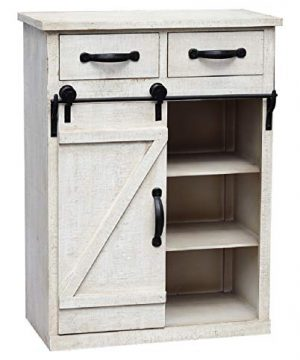 Distressed White Sliding Barn Door Accent Wood Storage Cabinet Farmhouse Style Wood End Table With 2 Drawers And 1 Cabinet Vintage Furniture 24 W X 13 D X 32 H 0 300x360