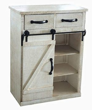 Distressed White Wood Sliding Barn Door Cabinet With Two Drawers Three Shelves Vintage End Table Console Cabinet Storage Cabinet Farmhouse Rustic Wood Furniture 32 H 0 300x360
