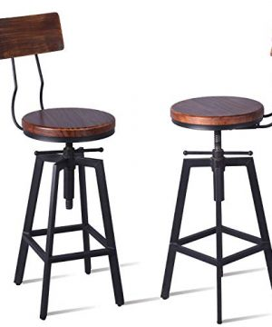 Diwhy Industrial Bar Stool Wood Metal Bar StoolAdjustable Height Swivel Counter Height Bar Chair With BackrestBlackFully Welded Set Of 2 Brown Wooden Top With Wooden Backrest 0 300x360