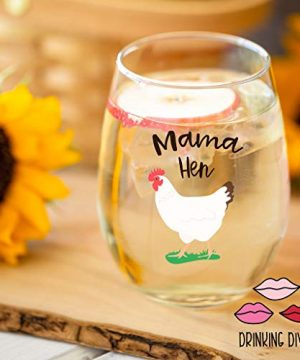 Drinking Divas Mama Hen 15oz Stemless Wine Glass Gift For Chickens Farm Lovers Cute Funny Farm Gifts For Mom Girlfriend Wife Best Friend Sister Birthday Or Christmas Present 0 0 300x360