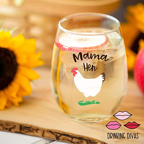 Drinking Divas Mama Hen 15oz Stemless Wine Glass Gift For Chickens Farm Lovers Cute Funny Farm Gifts For Mom Girlfriend Wife Best Friend Sister Birthday Or Christmas Present 0 0