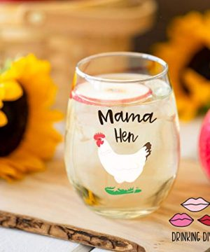 Drinking Divas Mama Hen 15oz Stemless Wine Glass Gift For Chickens Farm Lovers Cute Funny Farm Gifts For Mom Girlfriend Wife Best Friend Sister Birthday Or Christmas Present 0 1 300x360