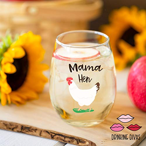 Drinking Divas Mama Hen 15oz Stemless Wine Glass Gift For Chickens Farm Lovers Cute Funny Farm Gifts For Mom Girlfriend Wife Best Friend Sister Birthday Or Christmas Present 0 1