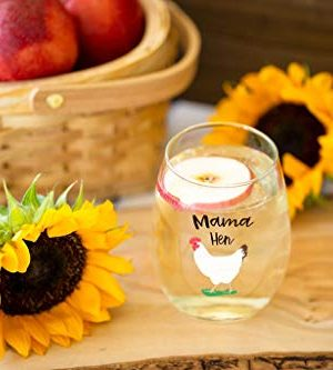 Drinking Divas Mama Hen 15oz Stemless Wine Glass Gift For Chickens Farm Lovers Cute Funny Farm Gifts For Mom Girlfriend Wife Best Friend Sister Birthday Or Christmas Present 0 2 300x333