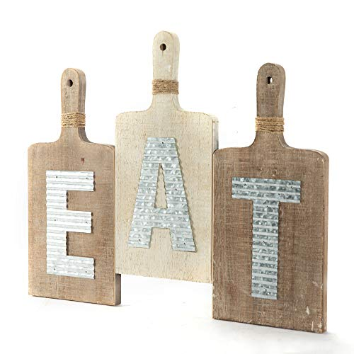 EMAX HOME Large EAT Wood Kitchen Sign For Kitchen Wall DecorRustic Farmhouse Kitchen Wall ArtVintage Wooden Plaque With Eat Letters For KitchenDistressed Finish 15 X 7 Each 0 0