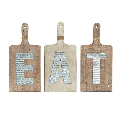 EMAX HOME Large EAT Wood Kitchen Sign For Kitchen Wall DecorRustic Farmhouse Kitchen Wall ArtVintage Wooden Plaque With Eat Letters For KitchenDistressed Finish 15 X 7 Each 0