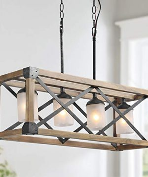 Farmhouse Chandelier 4 Lights Kitchen Island Lighting Rectangular Chandeliers With 4 Glass Globes 275 In Dia 0 300x360