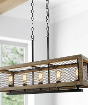 Farmhouse Chandelier For Dining Room 5 Light Linear Pendant For Kitchen Island Wood Chandelier Lighting With Black Iron Gridding 0 300x360