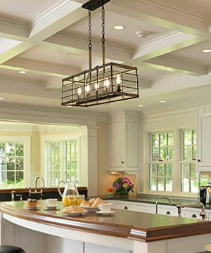 Farmhouse Chandelier For Dining Room Rectangle 5 Light Kitchen Island Lighting Faux Wood Finish 0 1 300x360