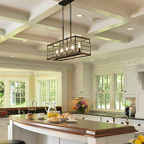 Farmhouse Chandelier For Dining Room Rectangle 5 Light Kitchen Island Lighting Faux Wood Finish 0 1
