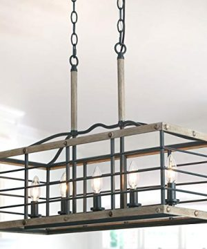 Farmhouse Chandelier For Dining Room Rectangle 5 Light Kitchen Island Lighting Faux Wood Finish 0 300x360