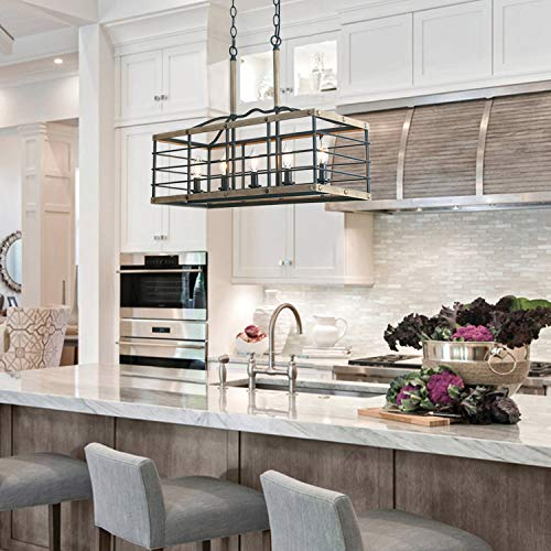Farmhouse Chandelier For Dining Room Rectangle 5 Light Kitchen Island Lighting Faux Wood Finish 0 4